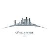 Asien Singapur-Stadt-Skyline-Silhouette weiß