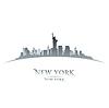 New York Skyline Silhouette weißen Hintergrund