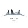 Stadt Atlanta Georgia Skyline Silhouette weiß