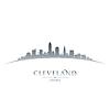 Cleveland Ohio Skyline Silhouette weiß