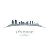 San Diego Kalifornien Stadt-Skyline-Silhouette weiß