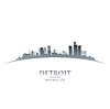 Detroit Michigan city skyline silhouette white