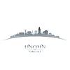 Lincoln Nebraska Stadt Silhouette weißen Hintergrund