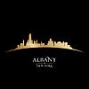 Albany New York Stadt-Silhouette schwarzem Hintergrund