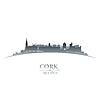 Cork Irland Skyline Silhouette weiß