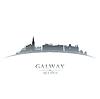 Galway Irland Skyline Silhouette weiß