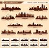Set von Skylines der Städte in der USA