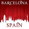 Barcelona Spanien Skyline der Stadt-Silhouette rot