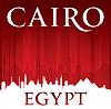 Kairo Ägypten Skyline Silhouette rotem Hintergrund