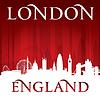 London England Skyline der Stadt-Silhouette rot