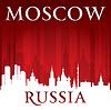 Moskau Russland die Skyline der Stadt-Silhouette rotem Hintergrund