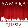 Samara Russland Skyline Silhouette rotem Hintergrund