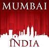 Mumbai Indien Skyline Silhouette rotem Hintergrund