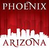 Phoenix Arizona Stadt-Skyline-Silhouette rot