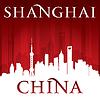 Shanghai China Skyline der Stadt-Silhouette rot