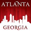 Stadt Atlanta Georgia Skyline-Silhouette rot