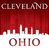 Cleveland Ohio Skyline der Stadt-Silhouette rot