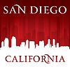 San Diego Kalifornien Stadt-Skyline-Silhouette rot