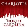 Charlotte North Carolina Stadt-Skyline-Silhouette Wieder
