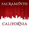 Sacramento Kalifornien Skyline der Stadt-Silhouette rot