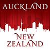 Auckland Neuseeland Stadt Silhouette rotem Hintergrund