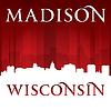Madison Wisconsin Stadt Silhouette rotem Hintergrund