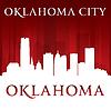Oklahoma Stadt Silhouette rotem Hintergrund