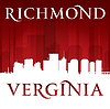 Richmond Virginia Stadt Silhouette rotem Hintergrund