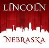 Lincoln Nebraska Stadt Silhouette rotem Hintergrund