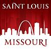 Saint Louis Missouri Stadt Silhouette rotem Hintergrund