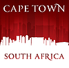 Kapstadt Südafrika Skyline der Stadt-Silhouette rot