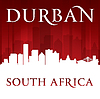 Durban Südafrika Skyline der Stadt-Silhouette rot