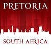 Pretoria Südafrika Skyline der Stadt-Silhouette rot