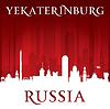 Jekaterinburg Russland Skyline der Stadt-Silhouette rot