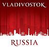 Wladiwostok Russland Skyline der Stadt Silhouette rot
