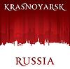 Krasnojarsk Russland Skyline der Stadt Silhouette rot