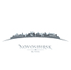 Novosibirsk Russland Skyline der Stadt Silhouette weiß