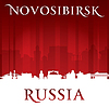 Novosibirsk Russland Skyline der Stadt Silhouette rot
