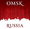 Omsk Russland Skyline der Stadt Silhouette rotem Hintergrund