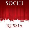 Sochi Russland Skyline der Stadt Silhouette rotem Hintergrund