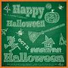 Halloween-Karte auf der grünen Tafel