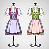 Векторный клипарт: широкая юбка в сборку платье на манекен