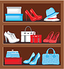 Regal mit Taschen und Schuhe