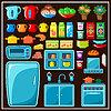 Векторный клипарт: Набор кухонной мебели. Посуда
