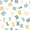 Векторный клипарт: бесшовные модели - образовательные буквы старинные