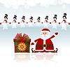 Santa Claus sitzt mit Geschenken umgeben von Schneemänner