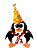 Cartoon Pinguin mit Party-Hut und Schal