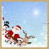 Weihnachtsmann, Rentier, Schneemann, Pinguin auf Retro