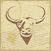 Retro-Postkarte mit Silhouette des Büffels