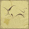 Retro-Karte mit der Silhouette des Büffels